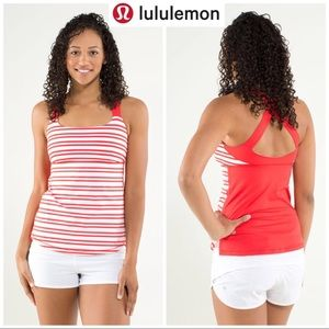 🆕Lululemon Top Red & White Stripped Workout NWOT